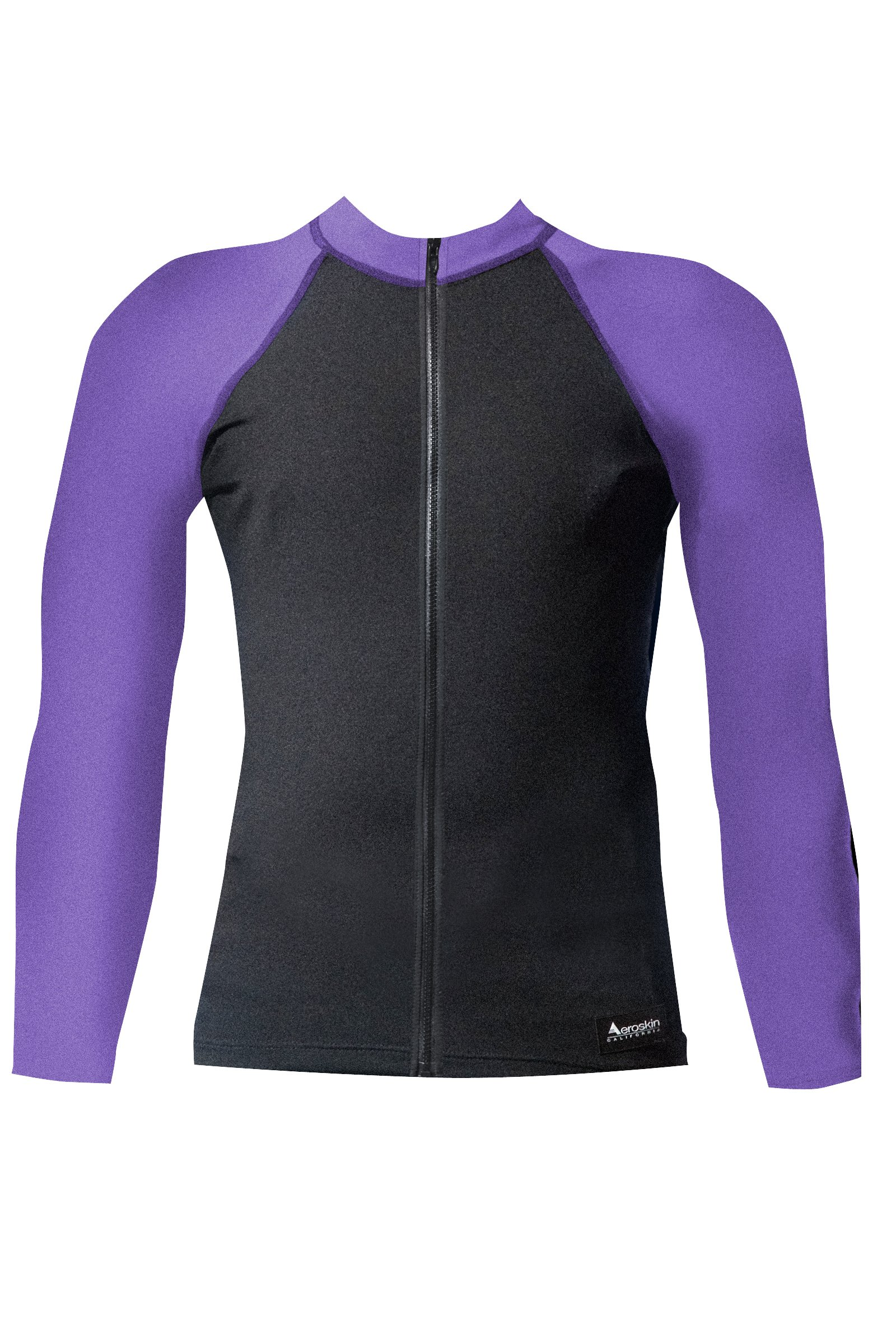 Aeroskin Raglan Long Sleeve Shirt with Color Accents, Fuzzy Collar and Front Zip (Black/Purple, X-Small)