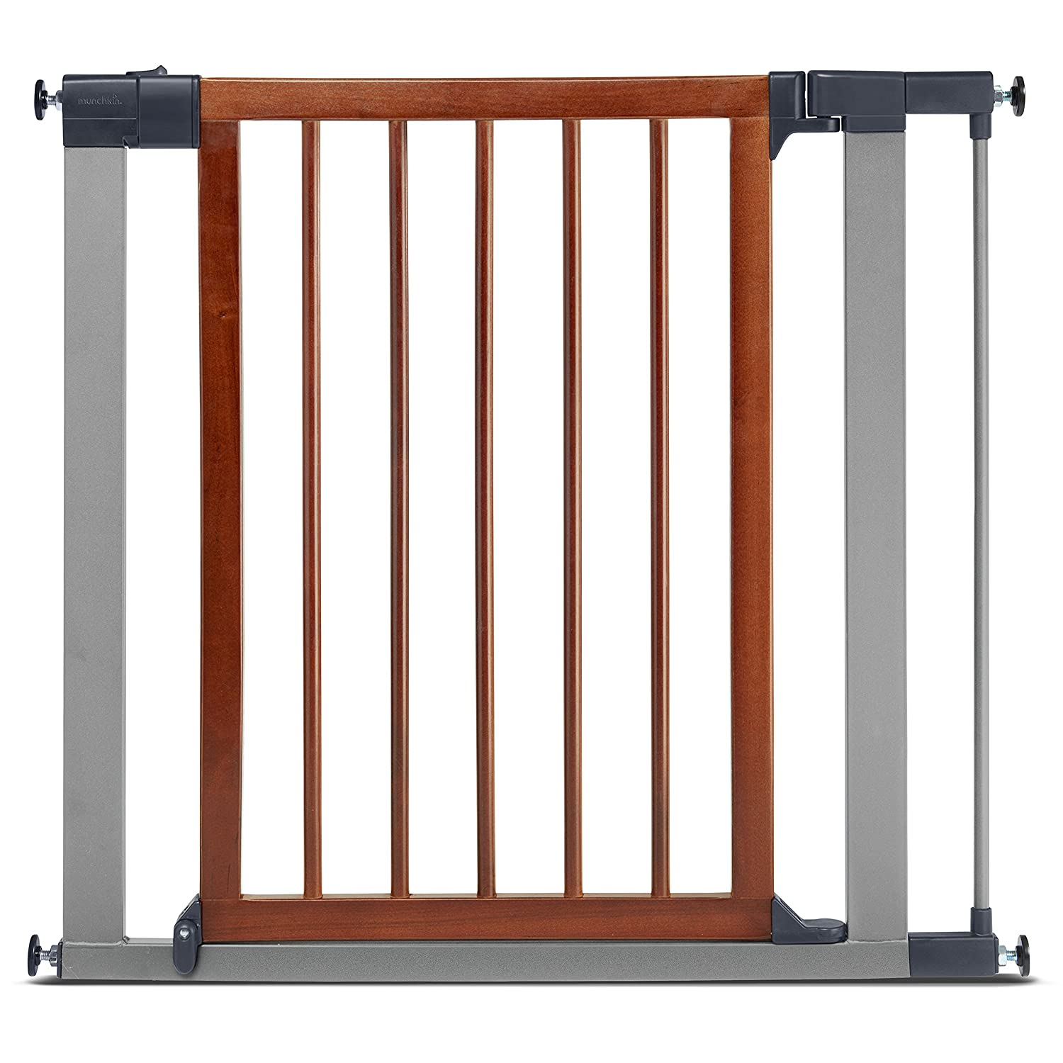 Munchkin Wood Steel Pressure Mount Baby Gate For Stairs Hallways And Doors Woodlight Silver