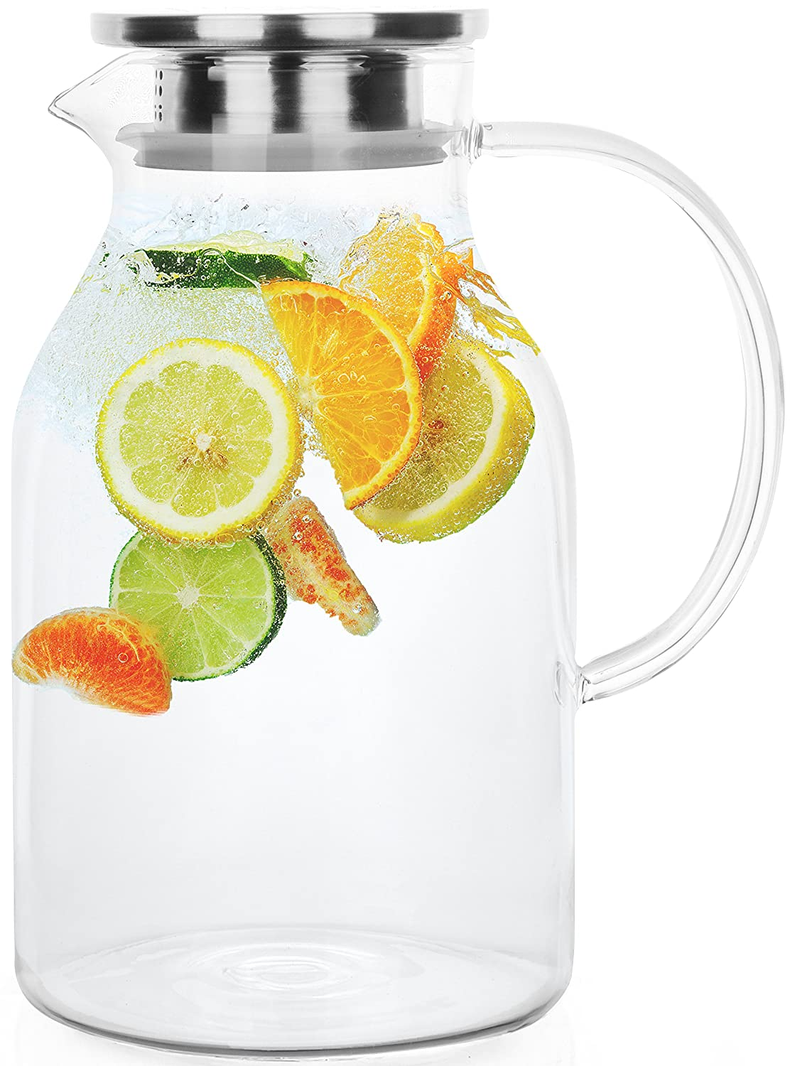 Glass Pitcher with Lid by Golden Spoon: Durable 68oz Glass Carafe with Airtight Cap - MicrowavFreezer Safe Borosilicate Glass for Hot and Cold Liquids - Comes with 2 Stirrers and A Strainer (68 oz)