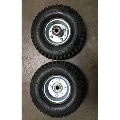 "New Pair of Non Flat Tires, Hand Truck/All-Purpose Utility Tire on Wheel, 2 1/8"" Offset Hub, 5/8"" Bearings, Solid Steel, Silver Wheel: Industrial & Scientific"