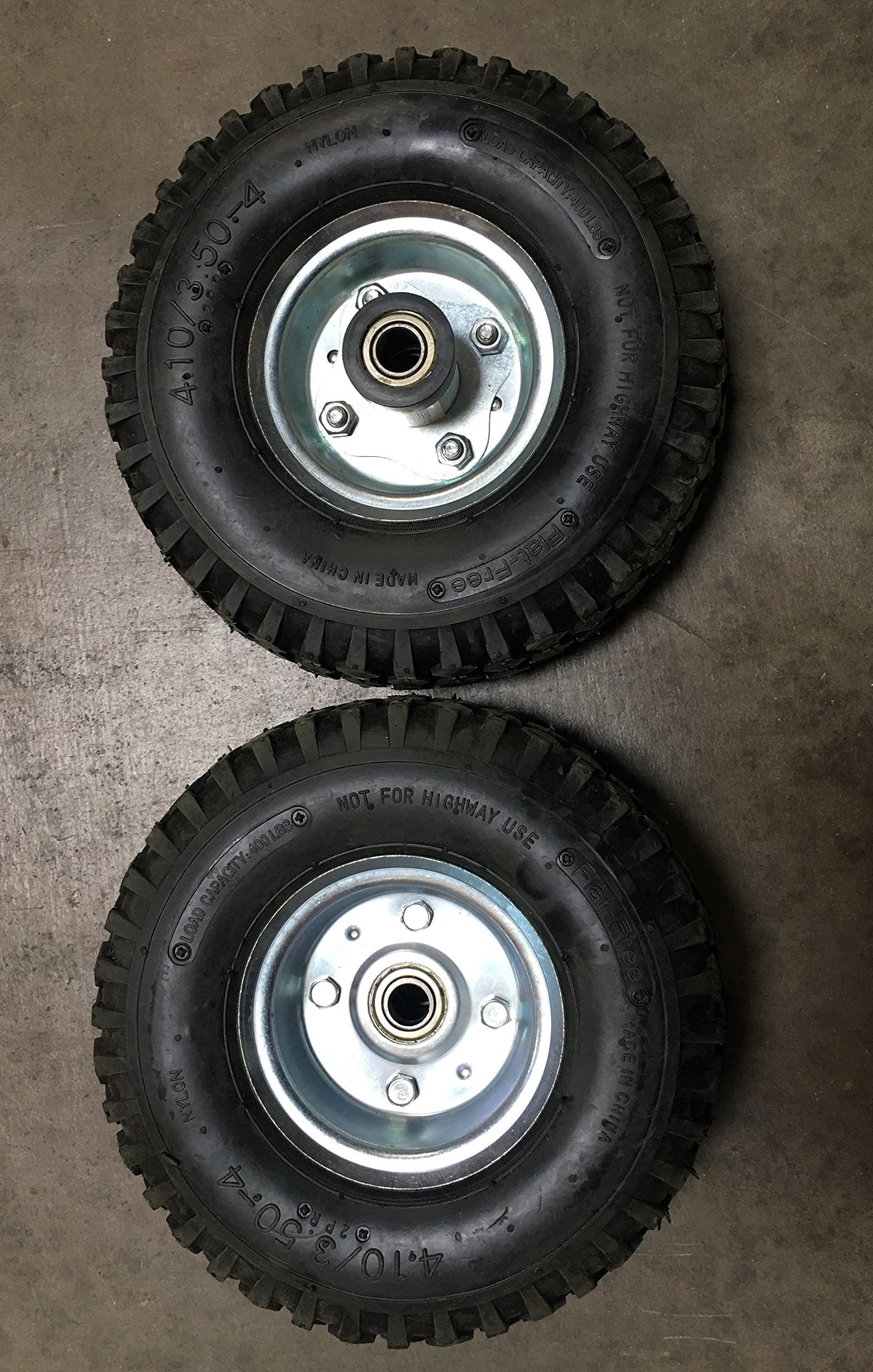 New Pair of 500LB Non Flat Tires, Hand Truck / All-Purpose Utility Tire on Wheel, 2 1/8'' Offset Hub, 5/8'' Bearings