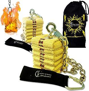 Flames 'N Games Coppia di Cathedral Fire Poi con stoppino in Kevlar 50mm, Catena, girelle e Borsa da Viaggio.