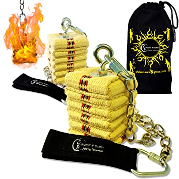 Fire Poi Flames N Games Large Pro Fire Spinning Poi 2x100mm wicks FREE Bag!