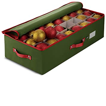 Christmas Ornament Storage.Zober Underbed Christmas Ornament Storage Box Zippered Closure Stores Up To 64 Standard Christmas Ornaments And Xmas Holiday Accessories Storage
