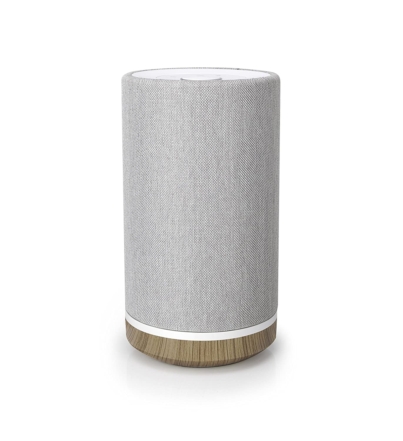 Knit Audio Otto, KW71, Medium Tower Bluetooth Wireless Speaker with Rechargeable Battery, Compatible for Android and Apple, Light Gray/Wood Grain, 5.3'x5.3'x10' 5.3x5.3x10