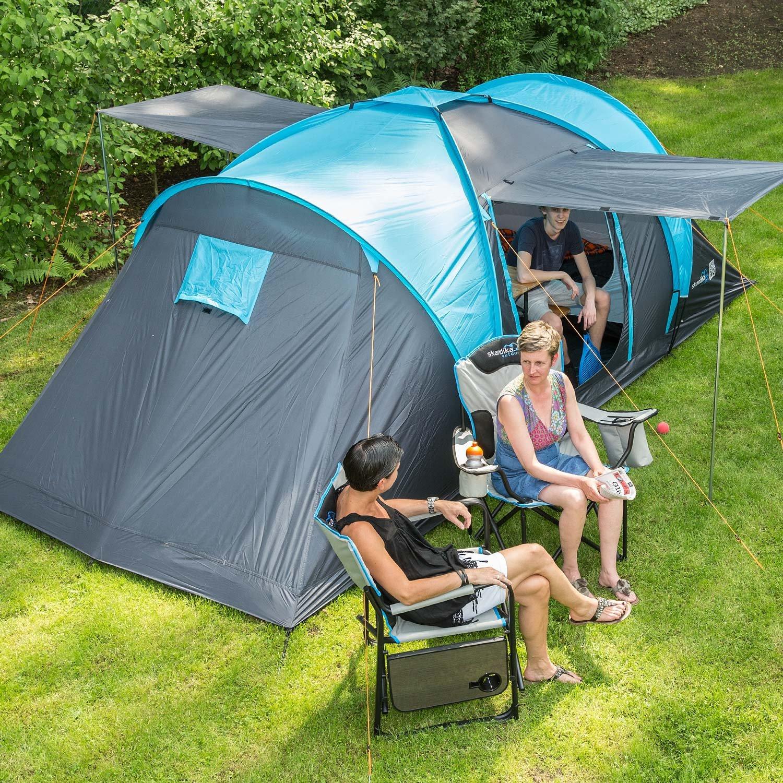 skandika Hammerfest 4 Protect - tienda campaña familiar - cúpula - mosquiteras - 2 dormitorios - azul: Amazon.es: Deportes y aire libre