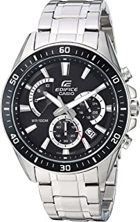 Casio Mens Edifice Quartz Stainless Steel Casual Watch, Color:Silver-Toned