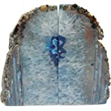 Blue Agate Bookend Pair - 6 to 9 lb - Geode Bookend with Rock Paradise Exclusive COA