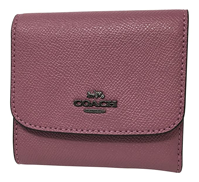 348e13f98d3094 Coach Woman's Crossgrain Leather Small Wallet with Shark Print Interior  (Azalea)