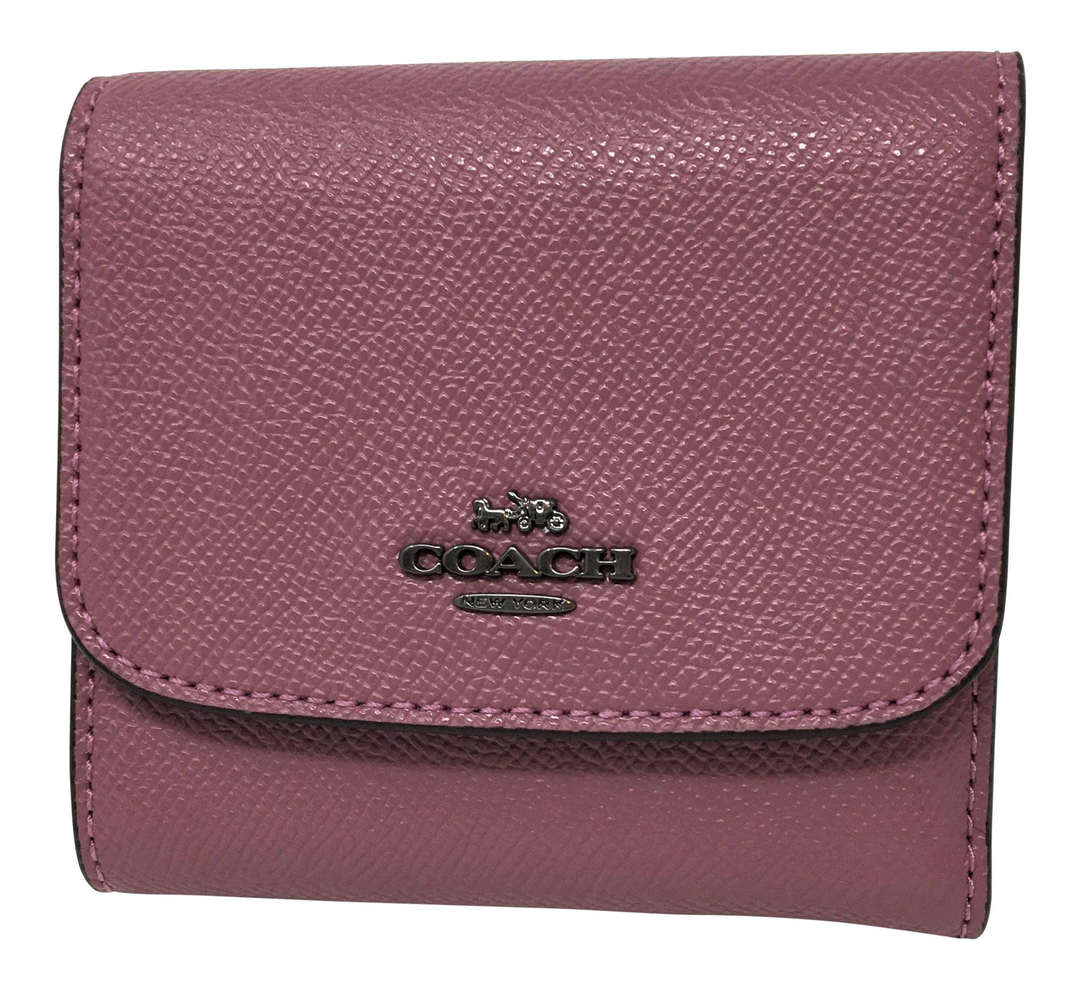 Coach Woman's Crossgrain Leather Small Wallet with Shark Print Interior (Azalea)