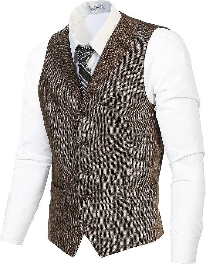 Gioberti Men's Tweed Suit Vest