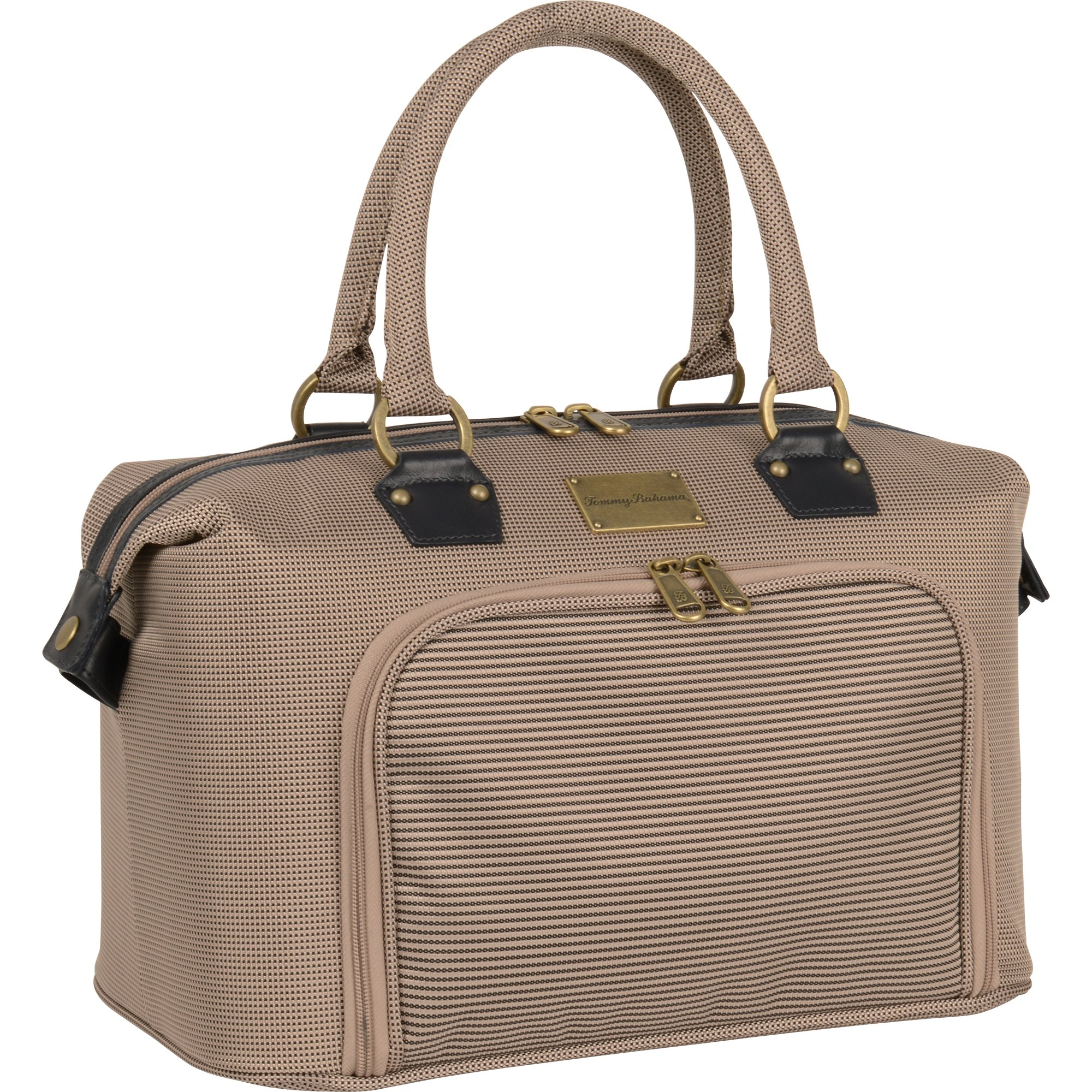 Tommy Bahama Haven 14 Inch Cosmetic Case, Champagne/Navy