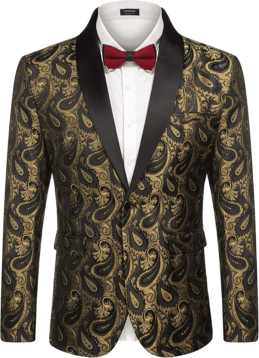 Coofandy Mens Blazer Casual Slim Fit Paisley Floral One Button Suit Blazer Prom Tuxedo Wedding Party Jackets
