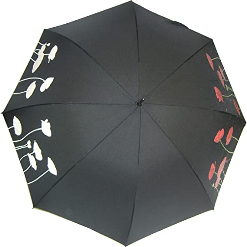 poppy flowers umbrella where floral print goes from white to red when it reacts with raindrops