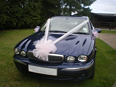 Luxury Wedding Car Organza Ribbon Bows Decoration Kit - White and ...
