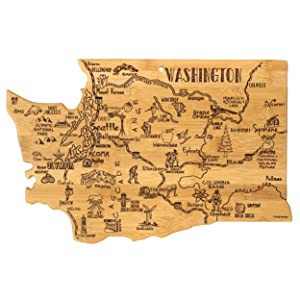 Totally Bamboo Washington State Destination Bamboo Serving and Cutting Board