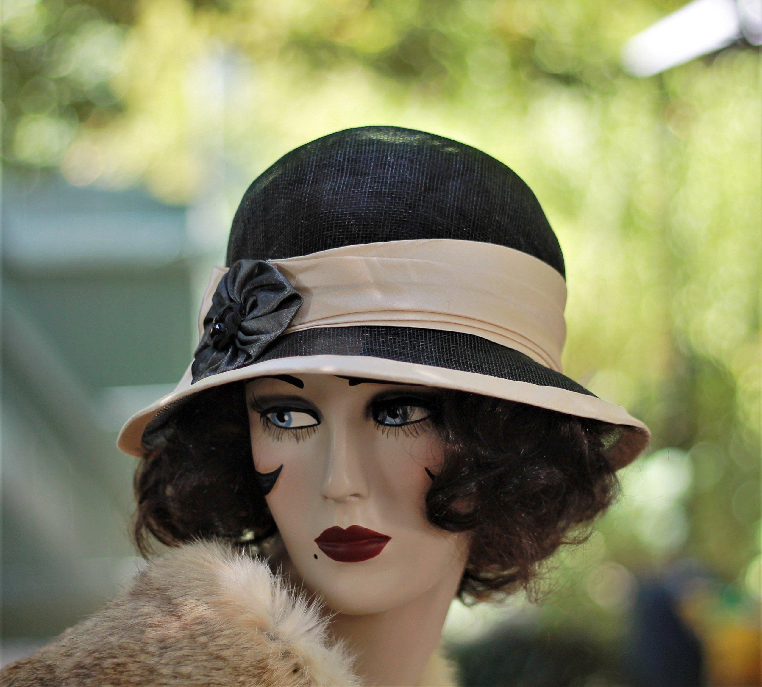 Sinamay 1920s Vintage Style Wide Brim Hat, Downton Abbey