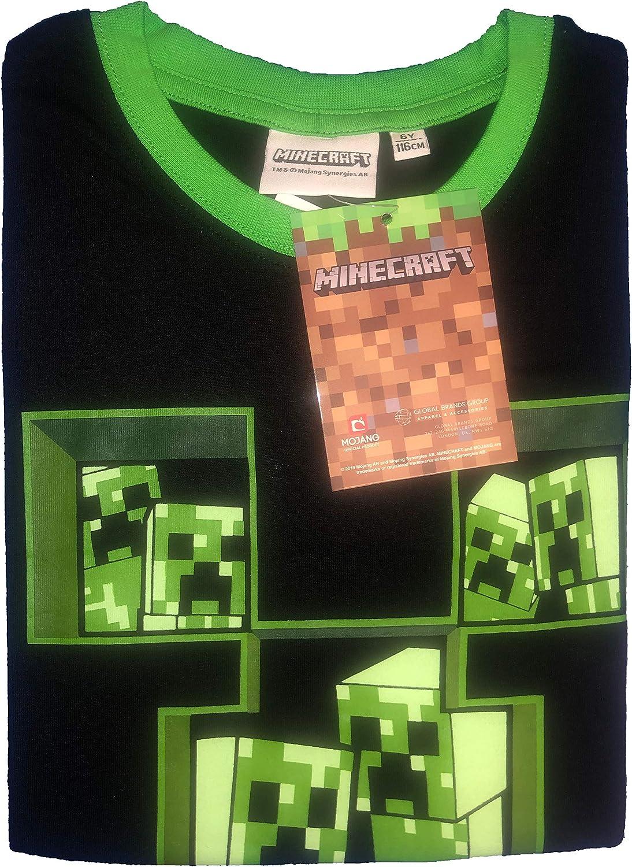 Minecraft Ni/ño Camisetas Polos y Camisas Negro