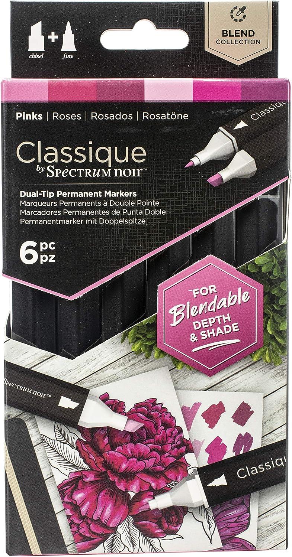 Spectrum Noir Classique Blend Alcohol Marker Dual Nib Pens Set-Pinks-Pack of 6