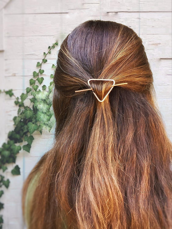 Copper Triangle Hair Pin, Minimal Hair Slide, Geometric Hair accessories