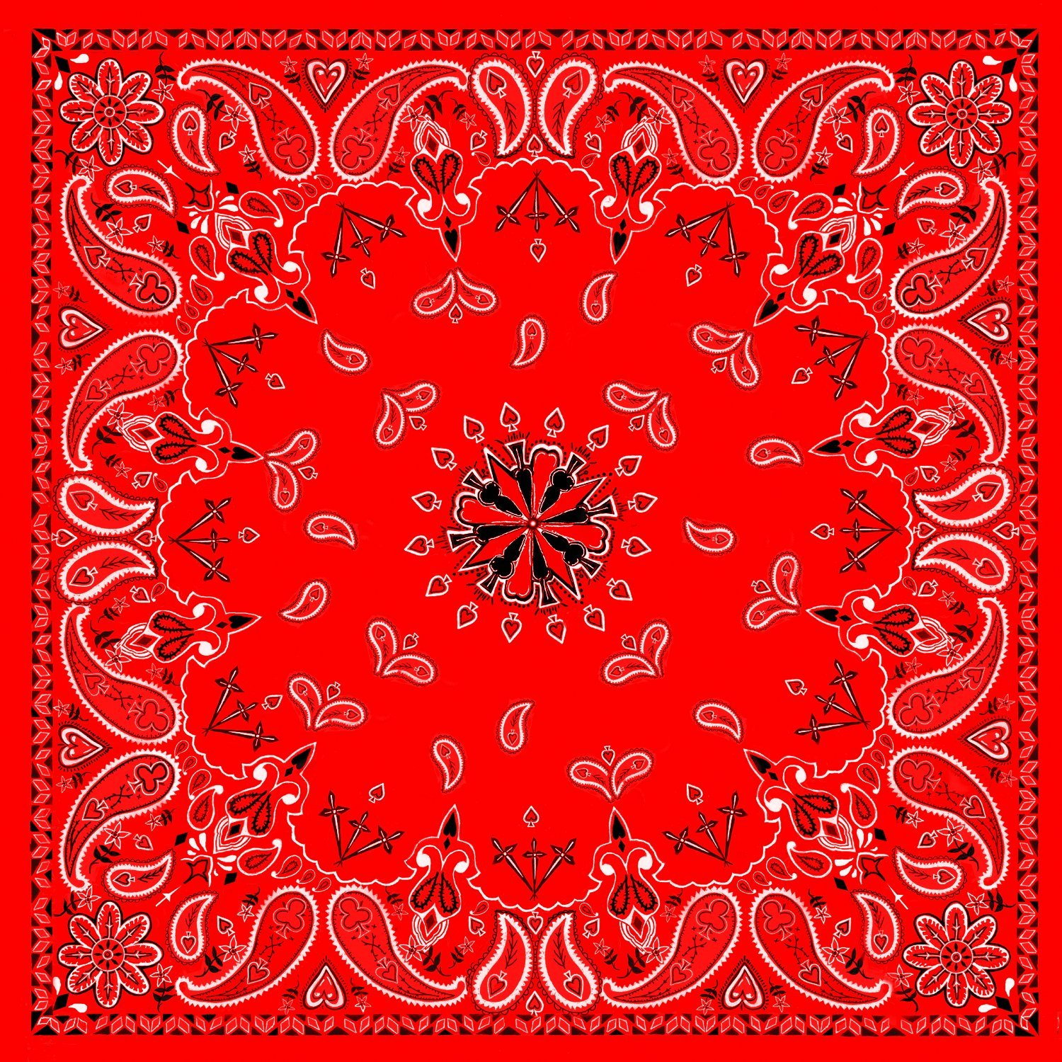 Red Paisley 100% Cotton Bandana