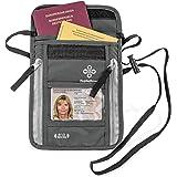 Borsello Porta Documenti Passaporto Italiano Patente Cellulare - Proteggi RFID - Portadocumenti Uomo Donna da Viaggio – Borsa Tracolla o Collo - Custodia da Esterno Impermeabile x Moto – Design Grigio