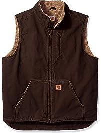 Carhartt Men's Big & Tall Mock Neck Vest Sherpa Lined Sandstone