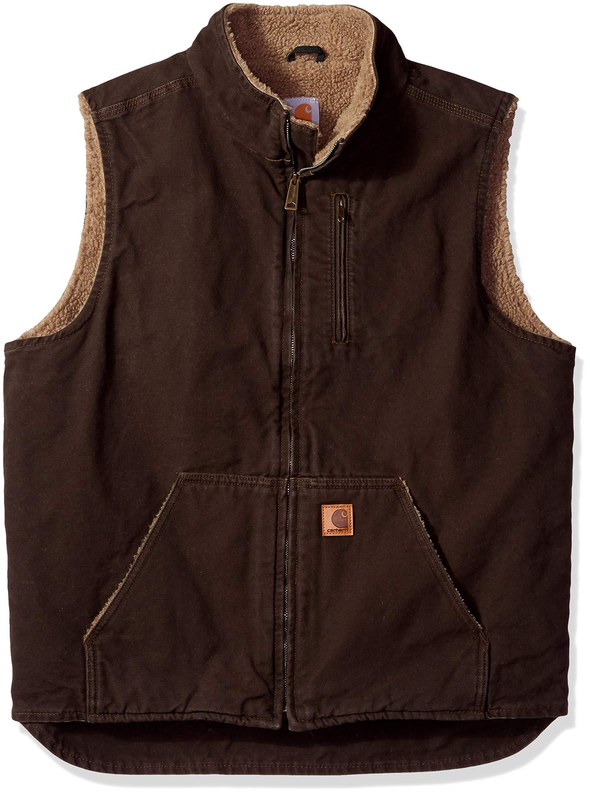 Carhartt Men's  Sherpa Lined  Mock Neck Vest ,Dark Brown,X-Large/Tall by Carhartt