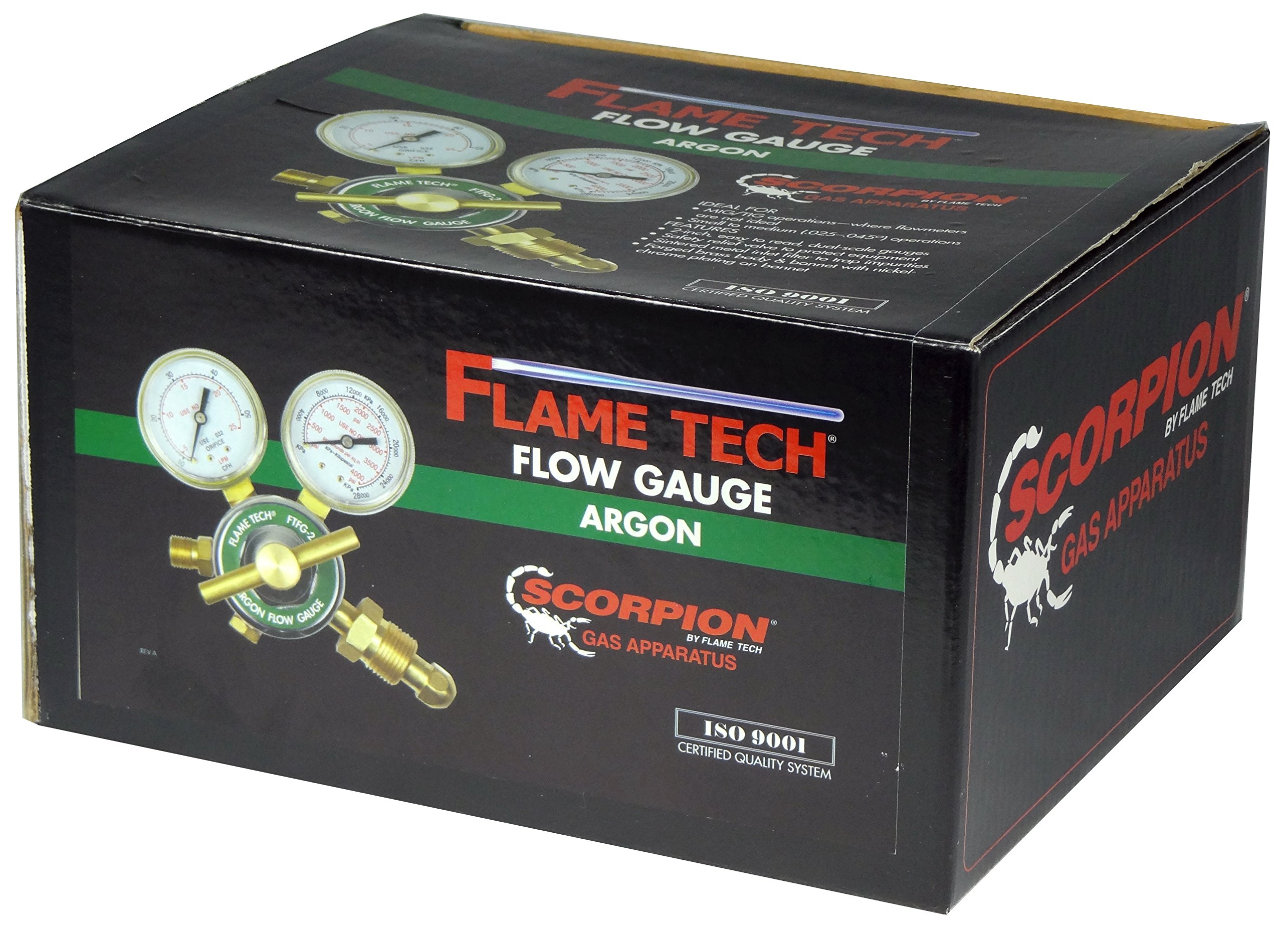FlameTech FTFG-25-AR Flow Gauge Argon Regulator, Box Packaging, Tested in The USA by Flame Tech Inc.