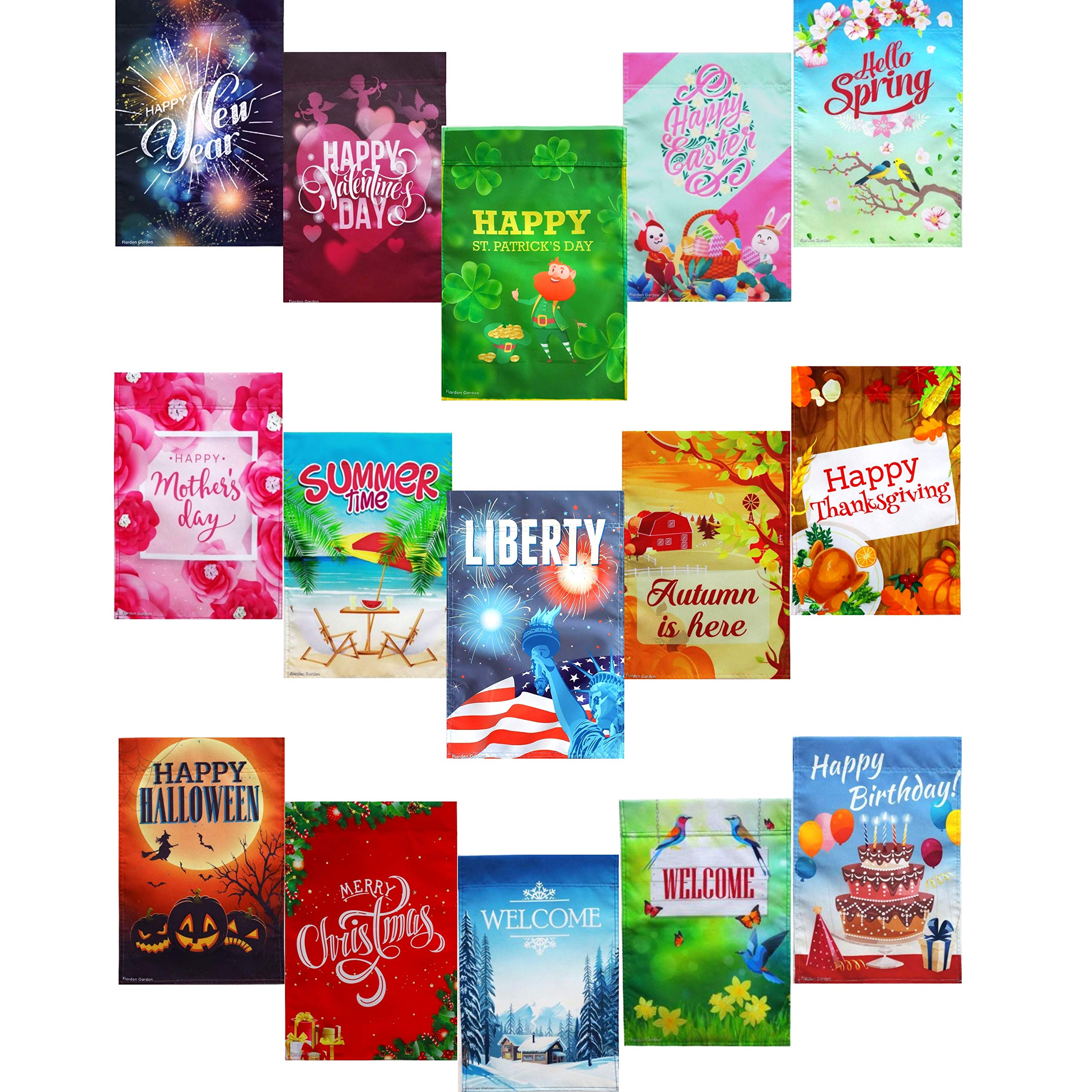 15 Double-Sided Seasonal Garden Flag Set, 12x18 inches, Home and Garden Flag Set for Outdoors, Nice Decorative flags for Outside, and a Great gift too!