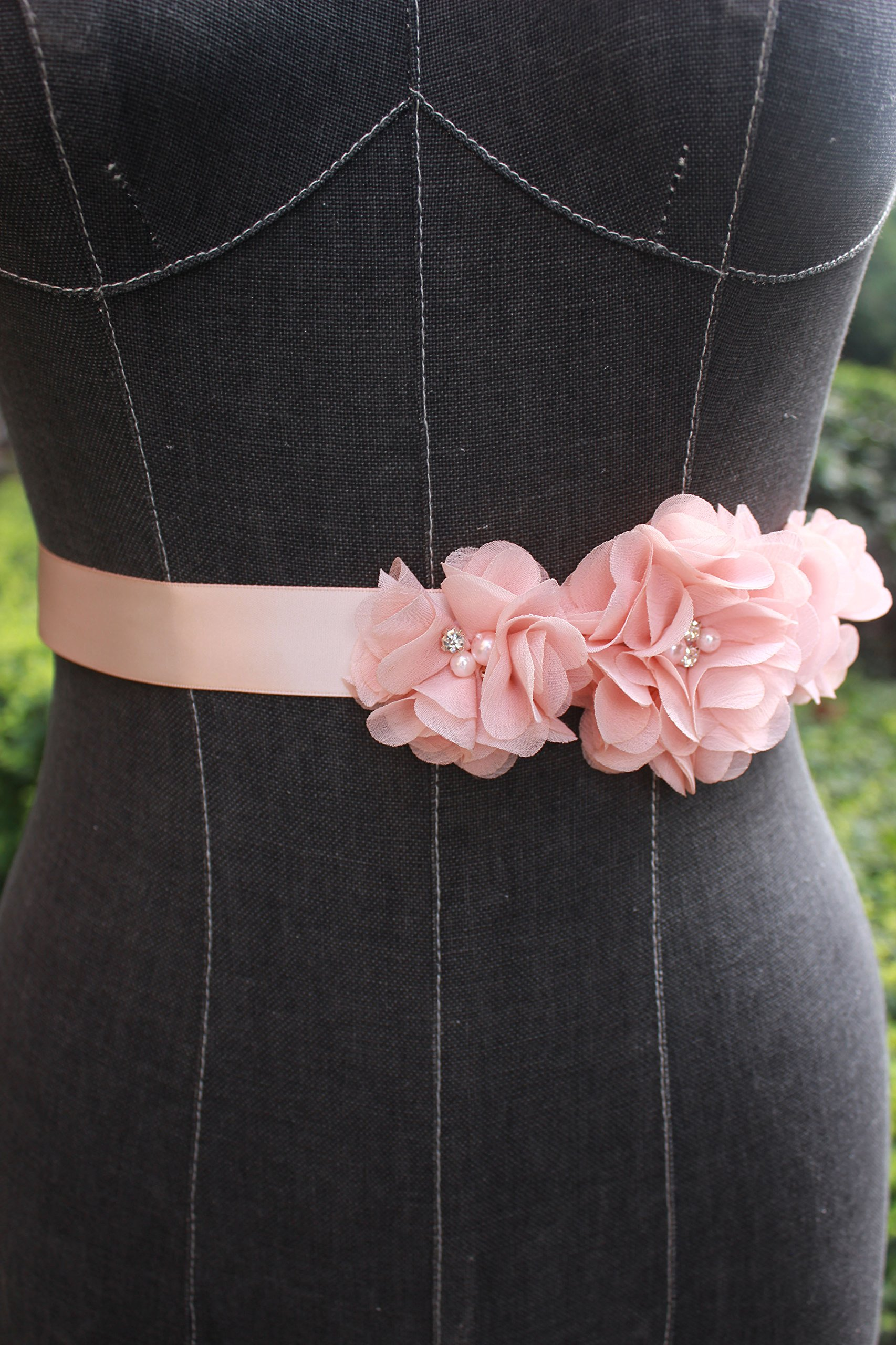 Bridesmaid and Flowergirls sashes wedding sash pearls flowers belts (Peach) by nania (Image #3)