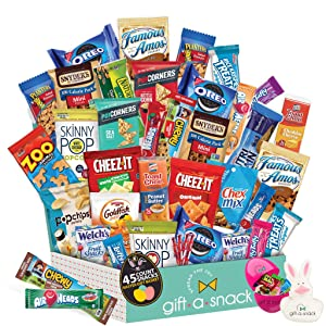 Premade Easter Gift Baskets for Kids & Adults, Candy Filled Eggs + Bunny - Snack Box Variety Pack (45 Count) - Candies, Toy Stuffers, Chips for Boys, Girls - College Student Care Package, Women, Men