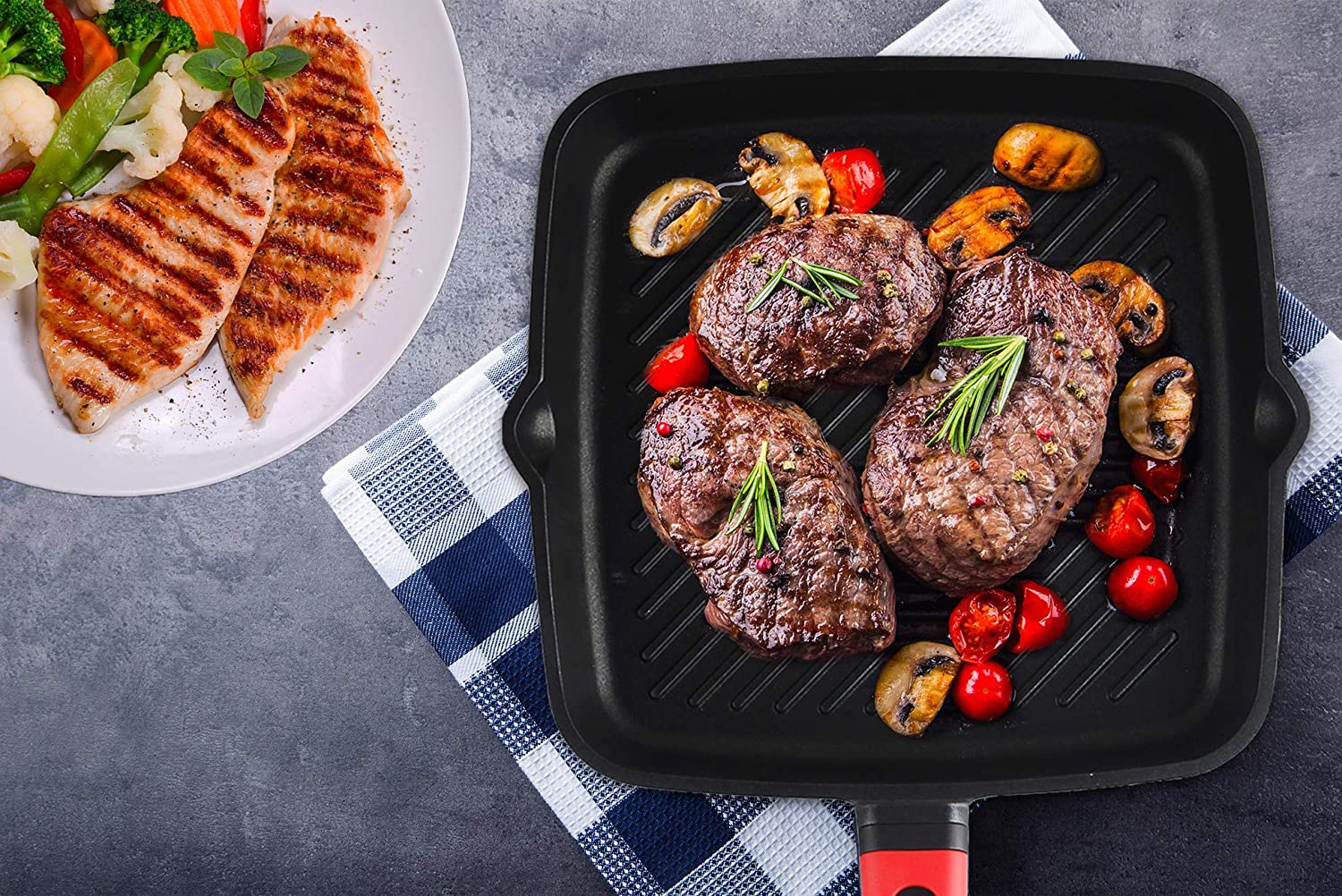 Griddle Pan Non Stick Induction Base with Detachable Handle 11-inch Square Pan Cast Aluminium Compatible with Gas /& Electric Hobs 28 cm
