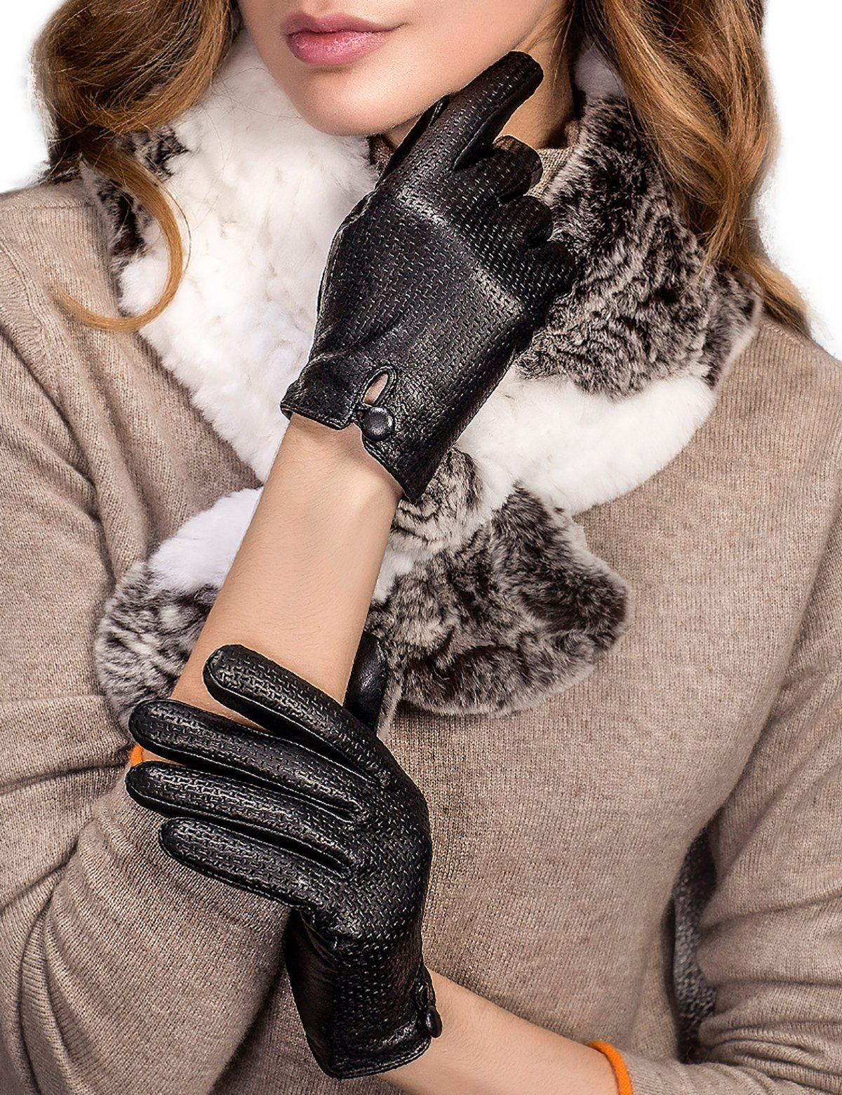 YISEVEN Women's Touchscreen Lambskin Leather Gloves Embossed Short Cuff Latticed Wool Lined Real Luxury Warm Fur Heated Lining for Winter Ladies Accessories Dress Driving Work Xmas Gifts, Black 6.5''/S