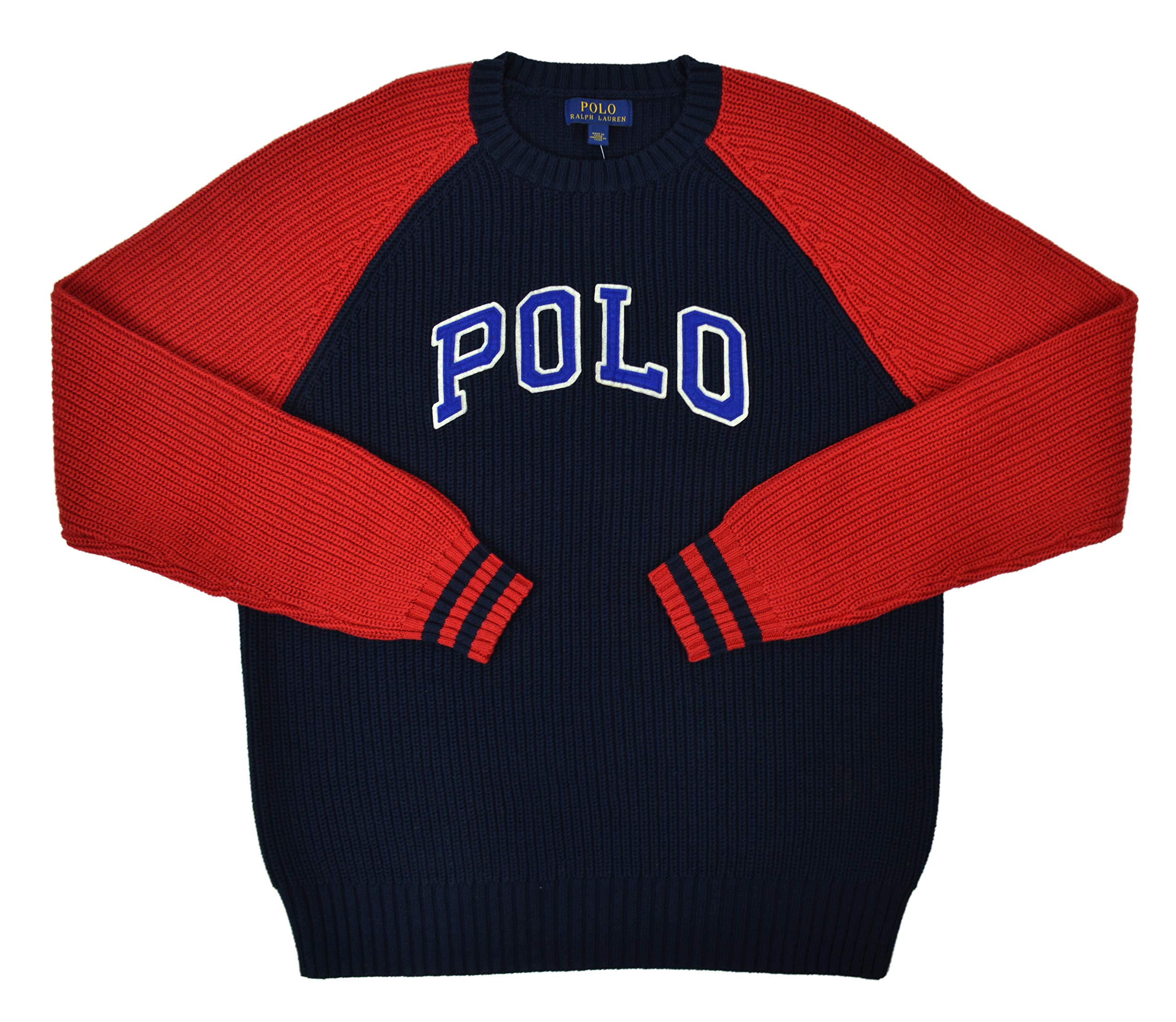 Polo Ralph Lauren Boys Two Tone Knit Crewneck Sweater Navy Blue Red (X-Large (18-20))