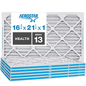 """Aerostar Home Max 16 3/8x21 1/2x1 MERV 13 Pleated Air Filter, Made in the USA, (Actual Size: 16 3/8""""x21 1/2""""x3/4""""), 6-Pack"""