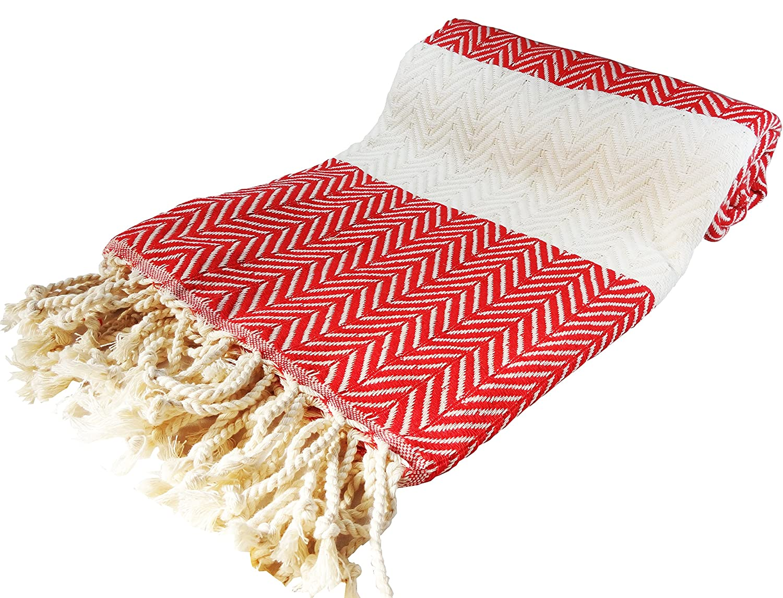 morganicsbeauty Turkish hammam Peshtemal, toalla de playa (100 x 180 cm, color rojo y crema: Amazon.es: Hogar