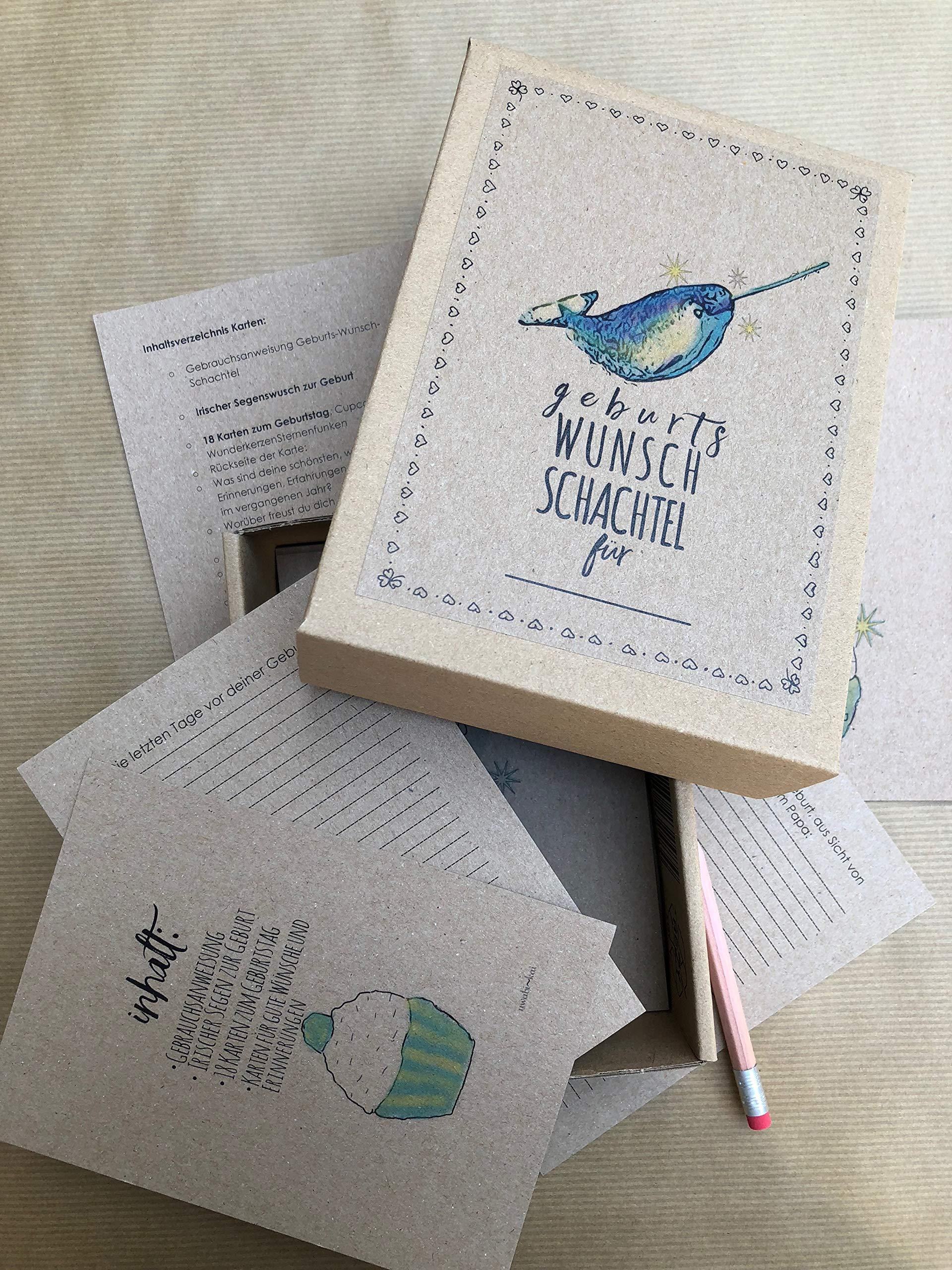 Geburts Wunsch Schachtel Narwal 61 hochwertige Geburtstagskarten in einer liebevoll gestalteten Box