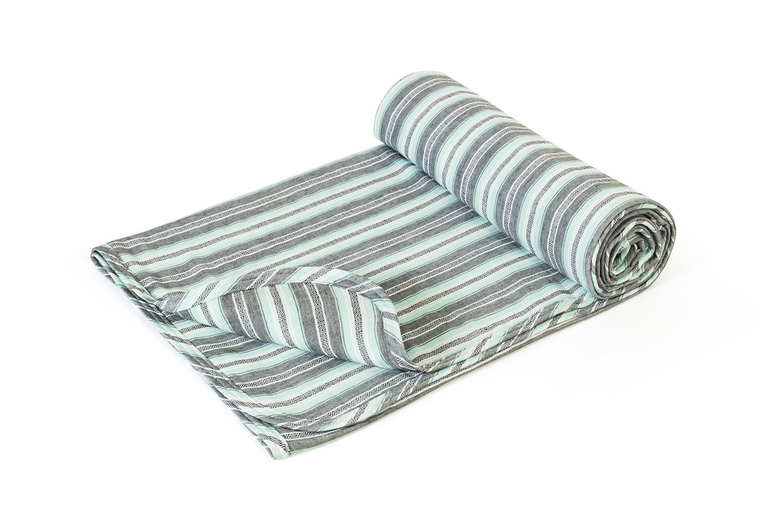 Henry and Bros. Large Double Layer Toddler Blanket, Girl Nap Blanket/Boy Nap Blanket, Light Blanket for Kids, Kids Blanket Patterns Made of 100% Cotton (Mint Aztec Stripe)