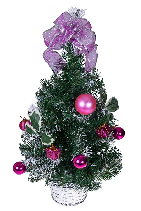 Clever Creations Tabletop Christmas Tree Decorated With Pink Balls Presents And Holly In A Silver Basket Festive Holiday Decor Classic Theme