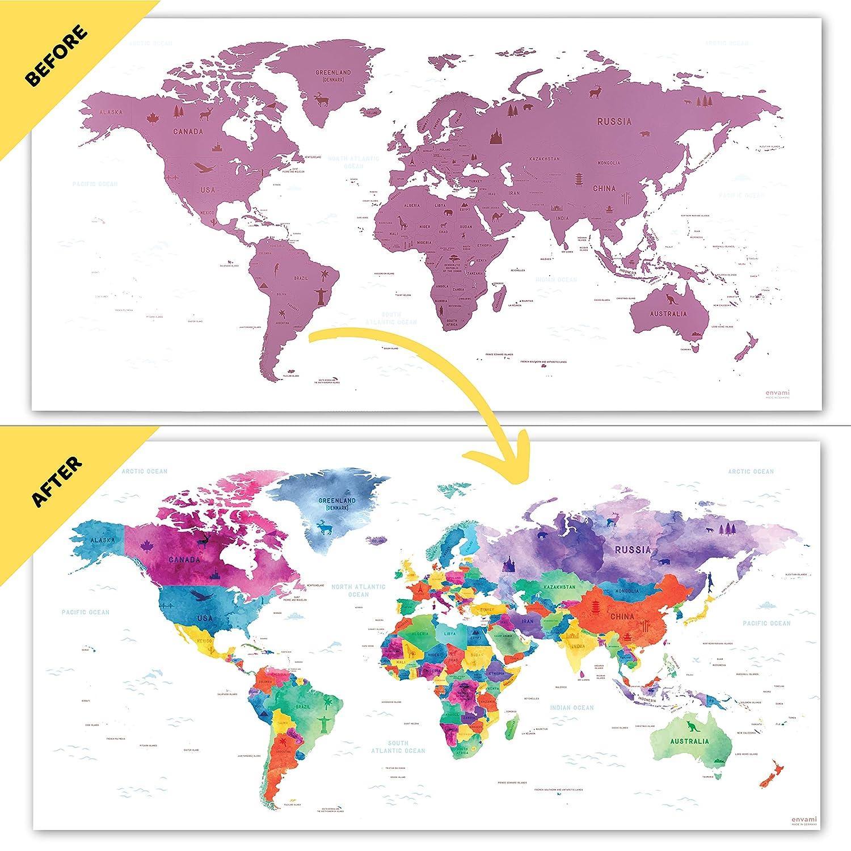 Cartina Mondo Gratta.Mappe 80 X 40 Cm Scratch Off Travel Map Mappa Da Grattare Mondo Rosato Cartina Mondo Mappamondo Cancelleria E Prodotti Per Ufficio