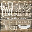 Malden International Designs Rustic Sign Bath Time Silkscreened Pallet Wood Rustic Sign, 12x12, Barnwood