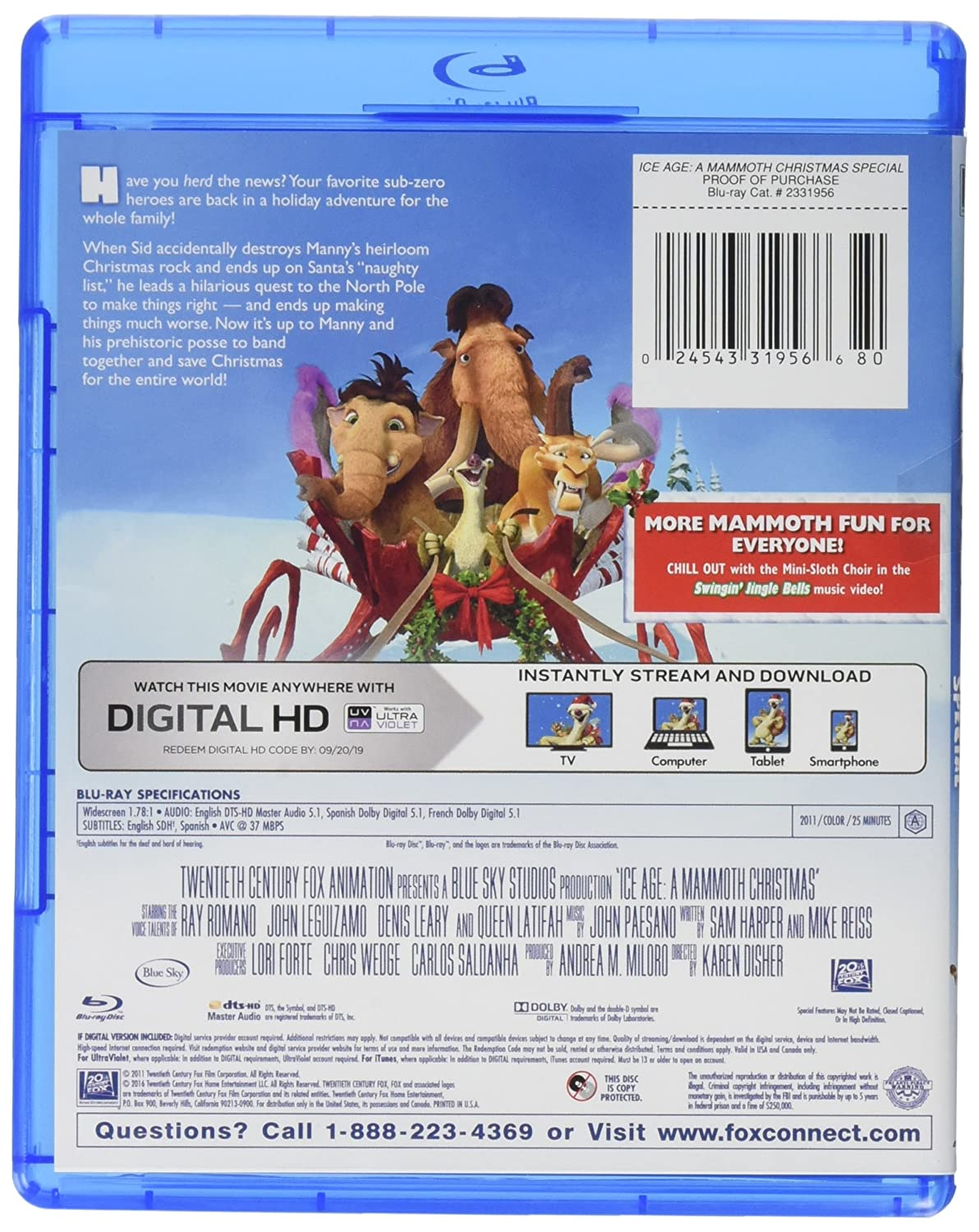 Amazon com: Ice Age: A Mammoth Christmas Special Blu-ray