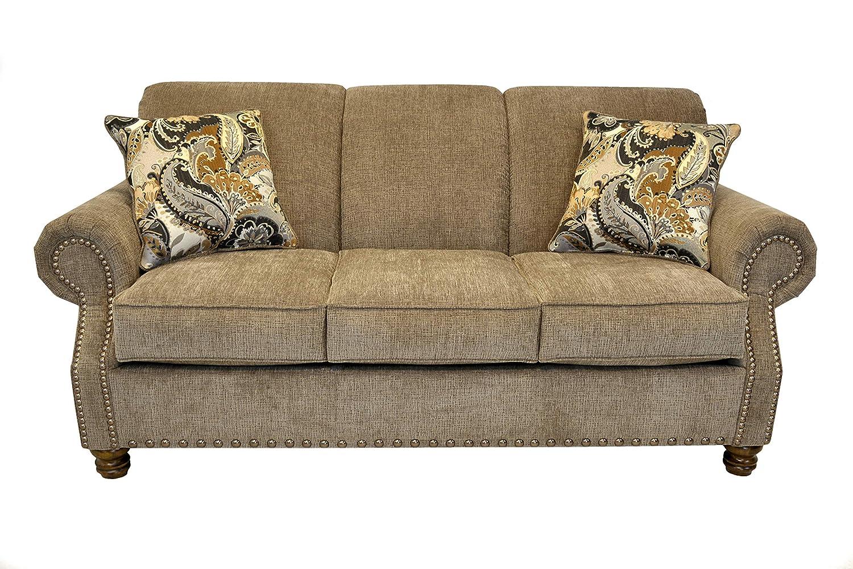 Amazon.com: Beam & Oak Frankie Fabric Sofa, Khaki: Kitchen ...