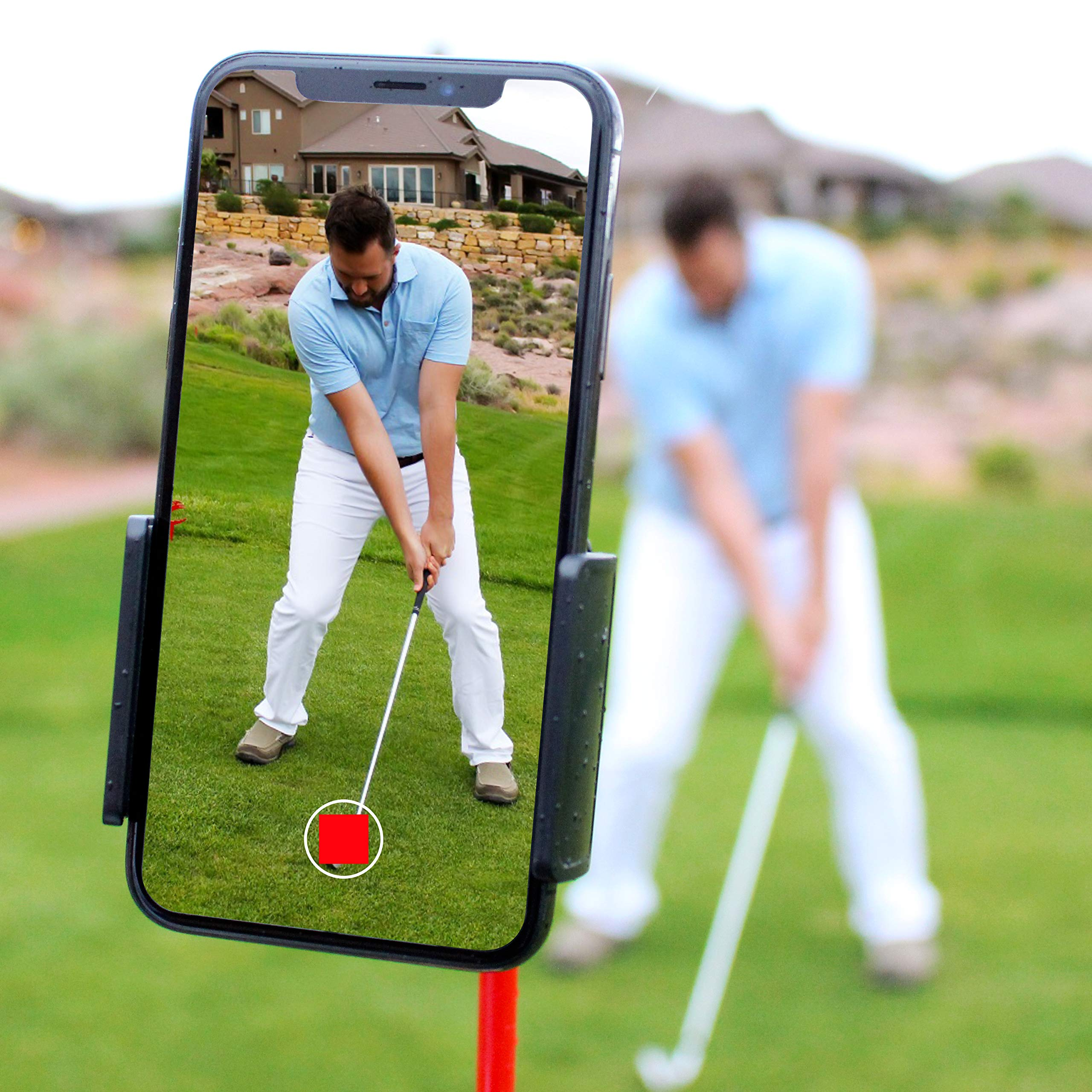 HoleN1 Golf Cell Phone Clip Holder and Training Aid to Video Record Swing - Clips to Golf Alignment Sticks and Golf Club Shaft - Works with any iPhone or Android Phone, Premium Golf Accessories by HoleN1 Golf