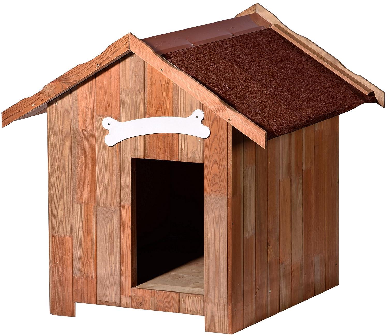 dobar isolierte Hundehütte mit Spitzdach, für draußen Outdoor wetterfest imprägniert, aus Kiefer-Holz, EU-Produktion