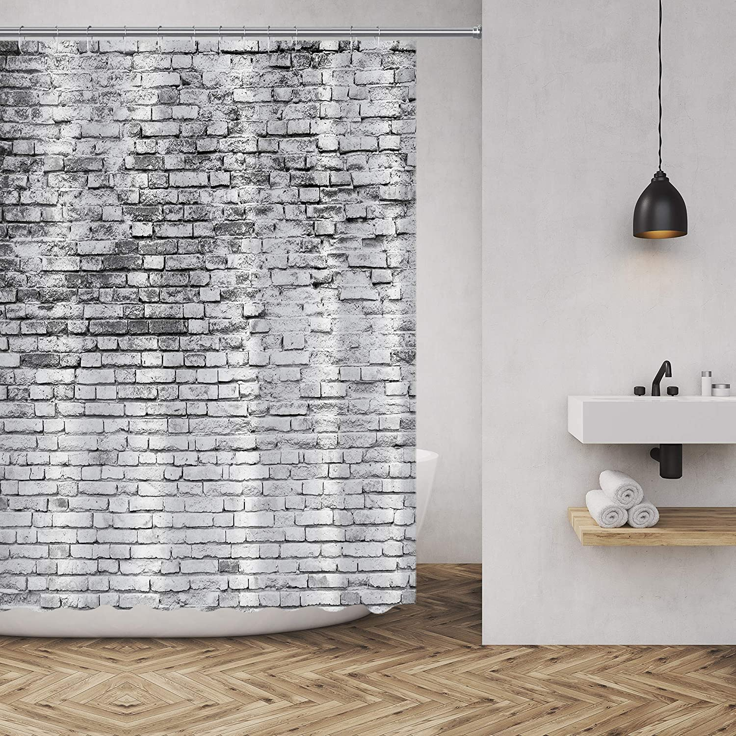 Amazon Com Muatoo Shower Curtain Cracked White Wall Background Graphics Prints Bathroom Decor Set With Hooks 72 X72 Inches White Home Kitchen