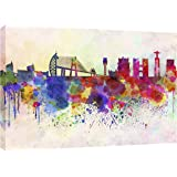 MOOL 32 x 22-inch Lisbon Skyline in Watercolour Canvas Wall Art Print, Multi-Colour