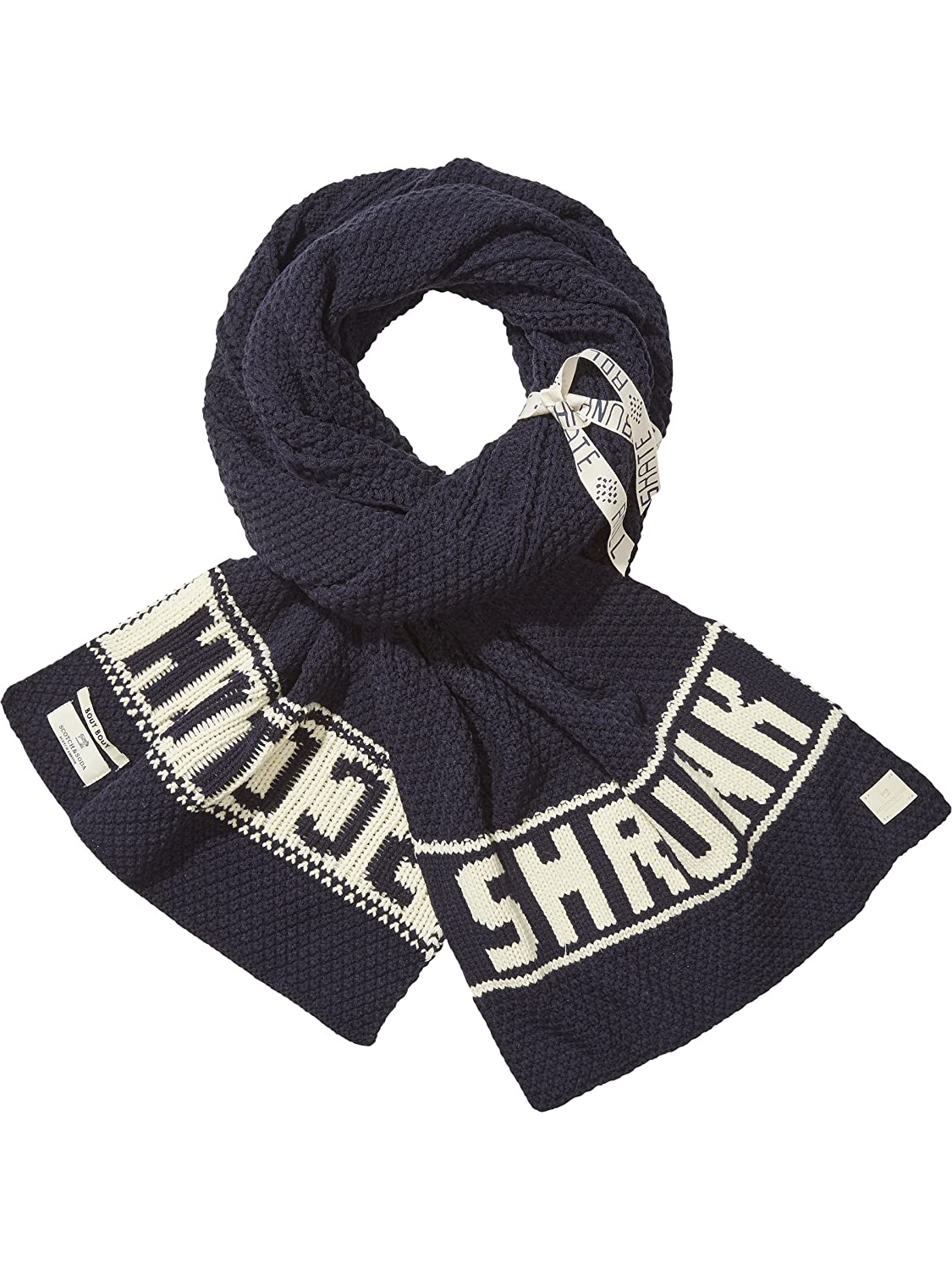 Scotch & Soda Shrunk Boy's Chunky Text Artwork Scarf, Blue (Night 002), One Size 140233