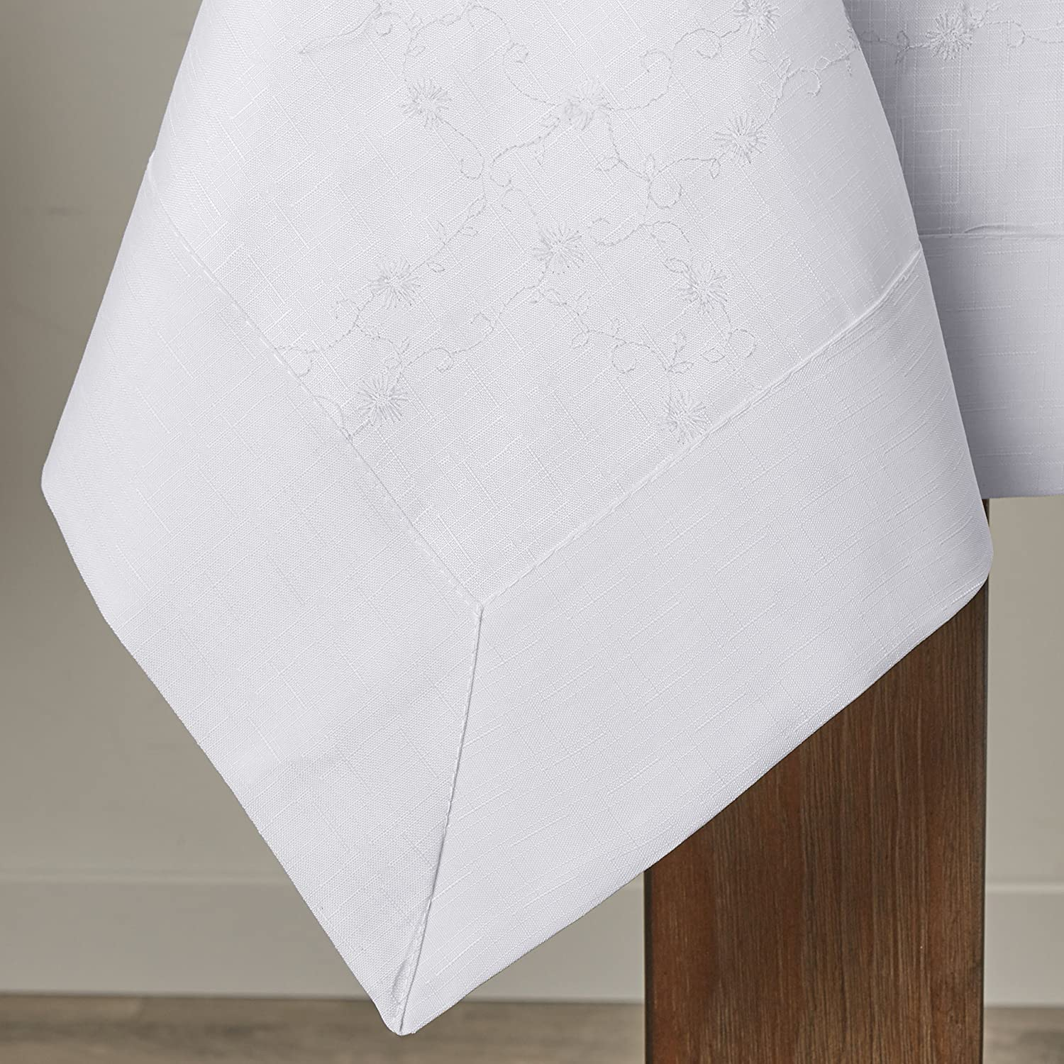 Violet Linen Ribbon Rose Embroidered Design Tablecloth 70 x 88 White RIBBONRS WH-4